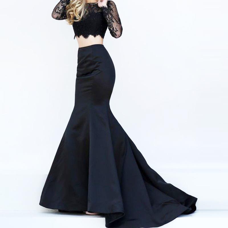 2018 Women Black Formal Party Maxi Skirt Satin Winter Autumn Evening Prom Party Celebrity High Waist Mermaid Long Skirts Bottoms