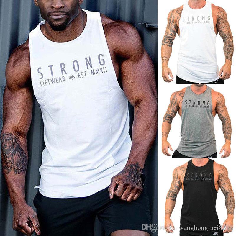 Moda Uomo Fitness Activewear maglietta tops Bodybuilding Muscle Tee Gilet