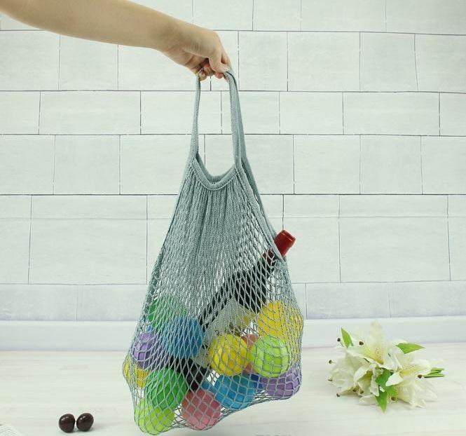 الأزياء سلسلة التسوق الخضروات الفاكهة حقيبة تسوق للمتسوقين حمل شبكة صافي المنسوجة القطن الكتف حقيبة اليد حقيبة تخزين المنزل c560
