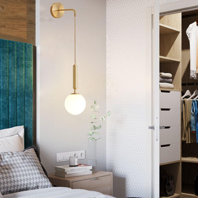 Modern Wall Lamp Simple Living Room Bedroom Lighting Study Bedside Wall Light Aisle Creative Nordic Light Personality Glass Lamp