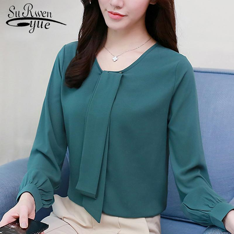 Moda mujer gasa blusa camisa arco v cuello oficina ropa de trabajo blusa para mujer tops y blusas camisas de manga larga para mujer 2562 50