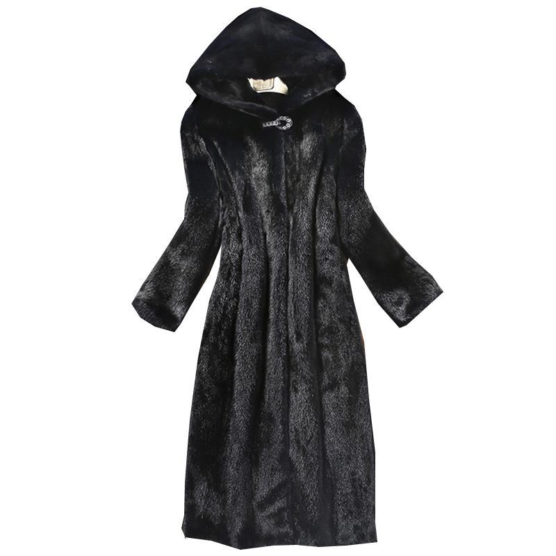 2018 Autunno Inverno Nuove donne cappotto di pelliccia finta visone cappotto lungo berretto a vento Europa e gli Stati Uniti di grandi dimensioni caldo