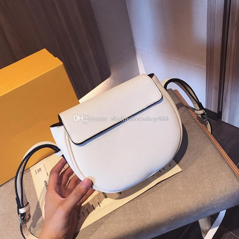 19SS Brand New Litchi Pattern Women Shoulder Bag Saddle Bags Sweet Female Shoulder Bag Crossbody Ladies Saddle Bag Luxury Designer Handbags