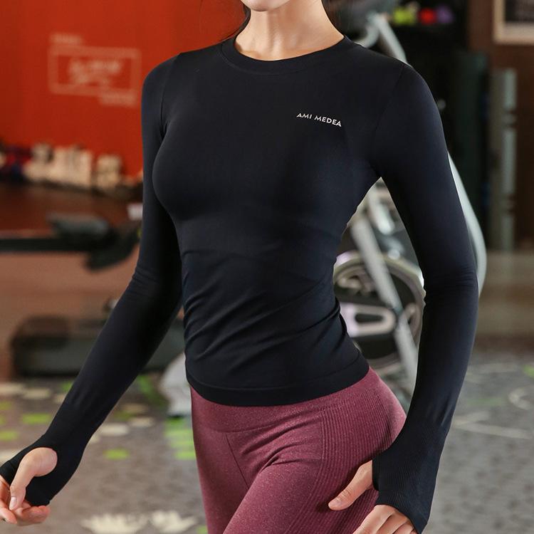 Письмо Высокая Упругие Йога Топ с длинным рукавом Спортивные Top Спорт Femme Фитнес Одежда Центр Скоростные Рубашки Женщины