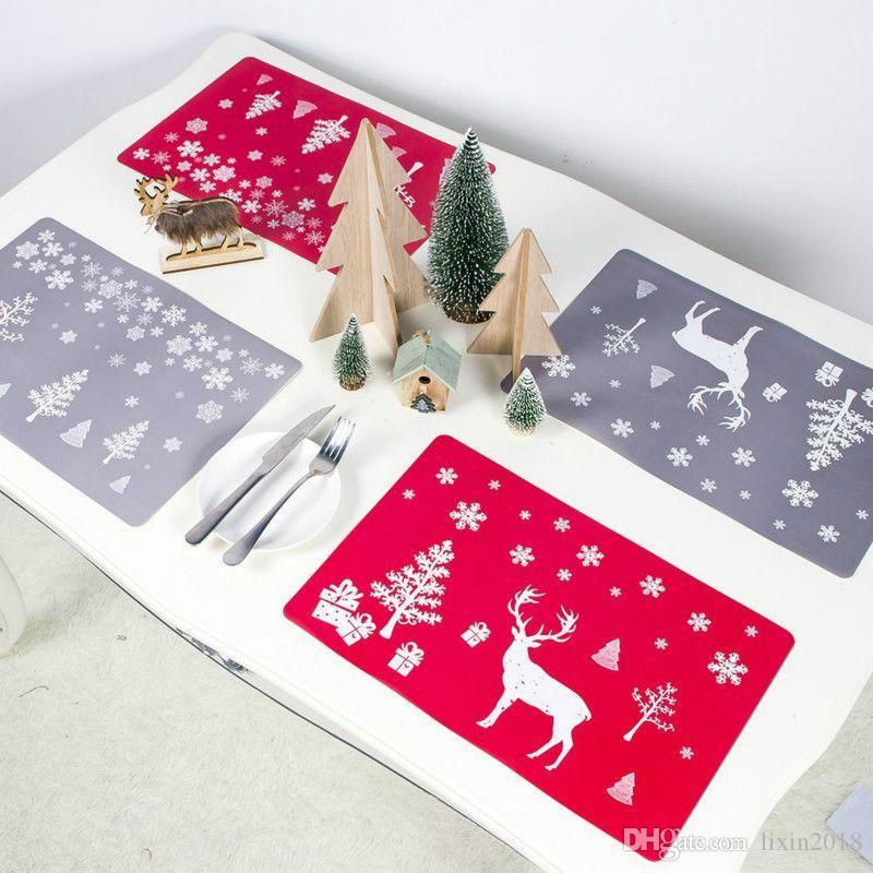Ev için Tablo Kupası Coaster Navidad yeni Noel Süslemeleri Yemek Hot 12pcs Noel Desen Placemat Kupası Mats Noel ağacı Elk Baskı