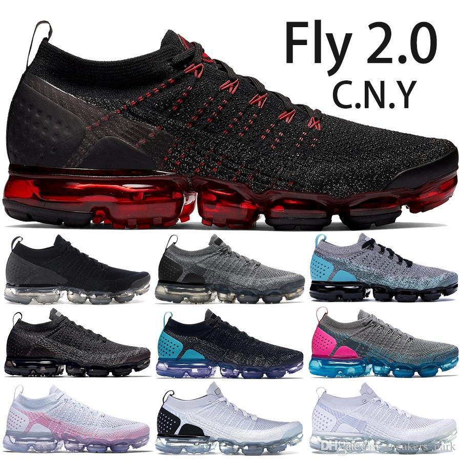 2019 Top CNY Chaussures De Course 2.0 Hommes Femmes Zebra Gris Foncé Gris Blanc Noir Designer Chaussures Sport Baskets Taille 5.5-11