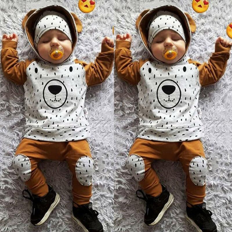 الوليد طفل رضيع فتاة 0-24M الملابس لطيف الدب مقنع بلايز سروال اللباس وتتسابق الدافئة