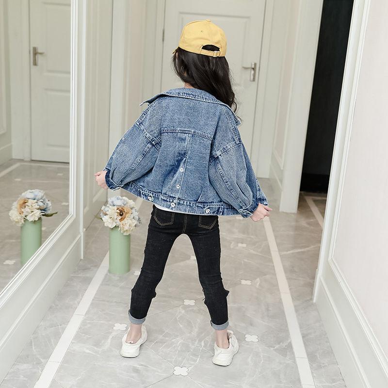 Nova 2020 Botão Packet estilo da menina roupas de primavera Outono elásticas Jeans Crianças Casual Roupas Crianças Meninas Denim Cardigan Casacos
