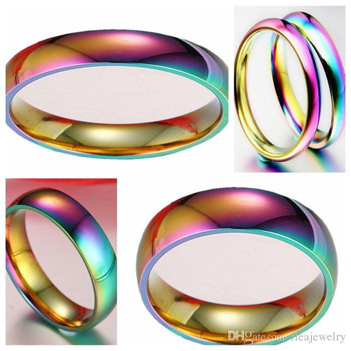 Оптовая 100шт 4 / 6мм Дамы комфортно 316L нержавеющей стали кольца моды группа кольцо ювелирных изделий для человека женщин
