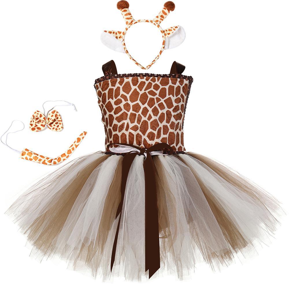 1set girafe Filles Tutu Dress Outfit Zoo des animaux Costumes pour les enfants Tout-petit bébé Fancy Performance Birthday Party Dress LY191227