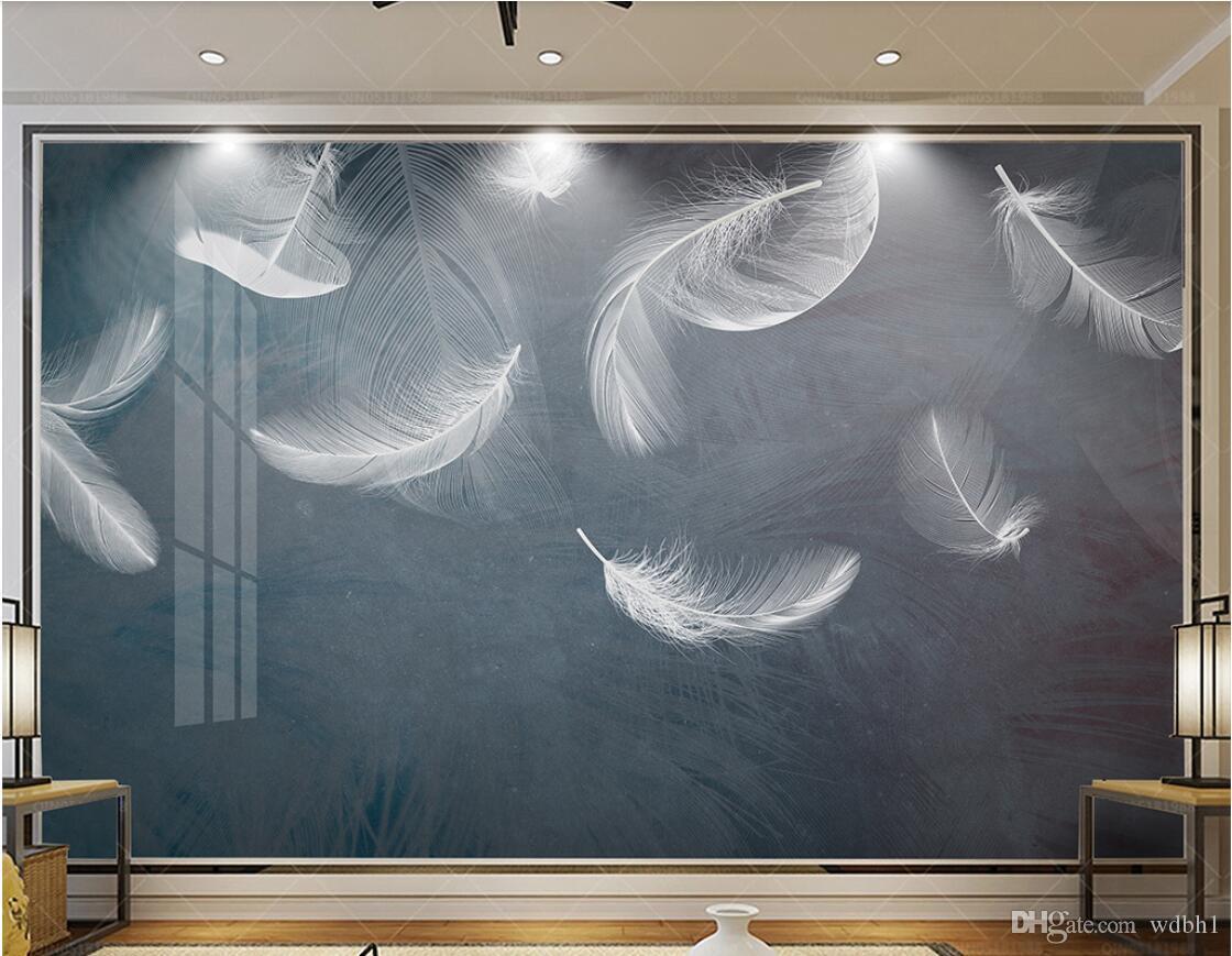 3d tapete kundenspezifisches foto vlies Modern minimalistisch schöne weiße feder TV sofa hintergrund wandbilder tapete für wände 3 d
