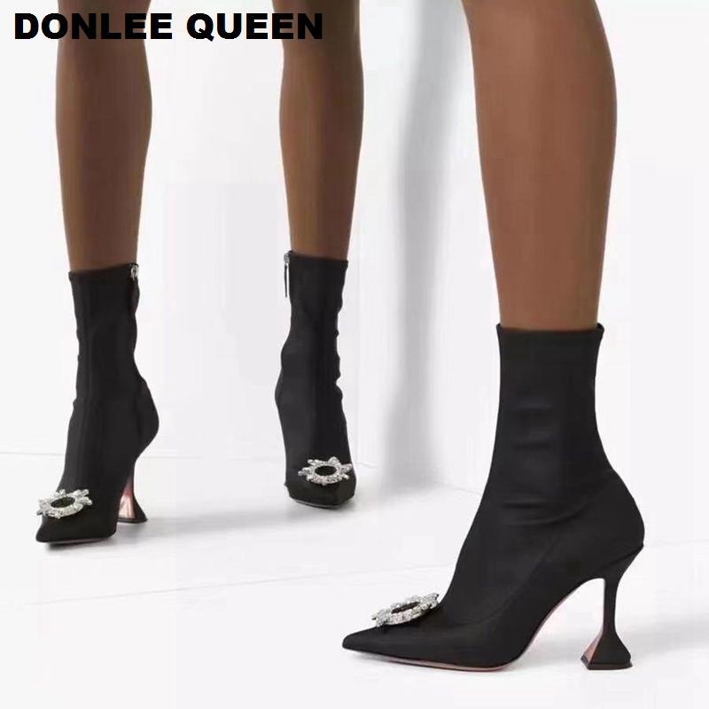 Calzino elastico nero Stivaletti donne Scarpe a punta tacco alto di cristallo del partito scarpe da donna di marca del progettista abbellito lo stivali per