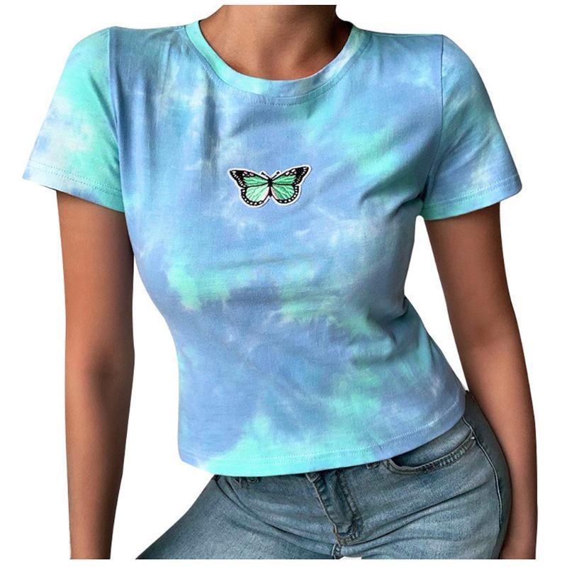 Tie-dye Summer T Shirt Women 2020 Letter Printed Female White Tee Tops O-neck Oversize Tees Short Sleeve Femme Shirt Summer