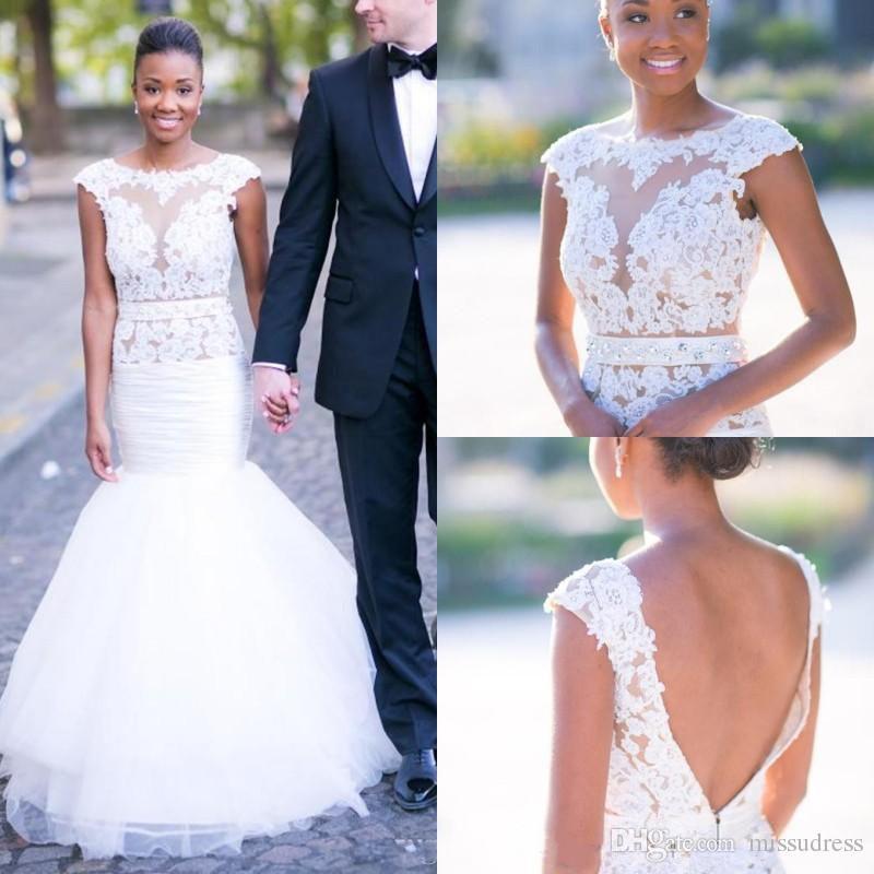 Robes de mariée sirène 2019 dentelle appliques perlé balayage train robes de mariée avec ceintures robes de mariée pour mariage fait sur mesure