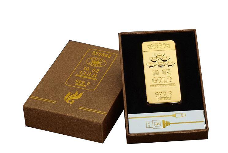 2017 luxury gold bar design lighter USB charging Double arc pulse cross ligthers Metal electronic cigarette lighter