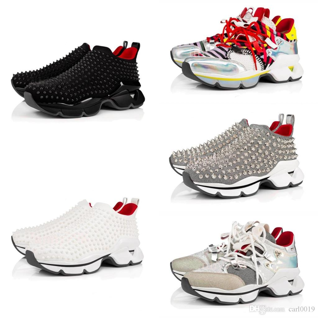 New Men and Women Unisex Shoes Best Red Bottom Sneakers Party Personality High sole Leather High Top Studded Spikes Designer Shoes Sneakers