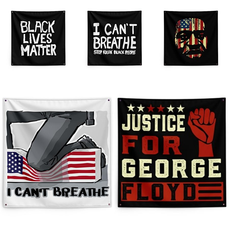 George Floyd Printing Tapestry Black Lives Matter Household Wall Banner 150*150cm #QA39039