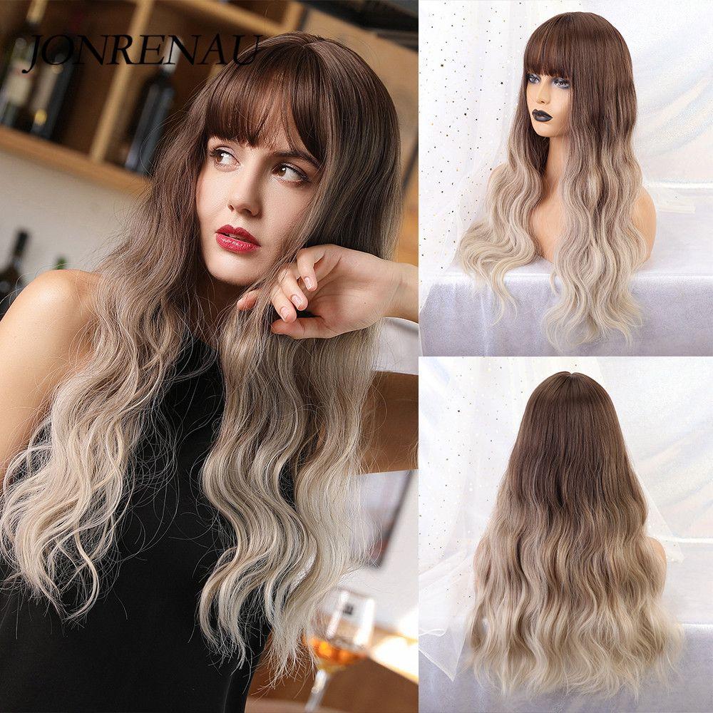 JONRENAU lange natürliche Welle Cosplay Wig Synthetic Ombre Brown Blonde Perücke für Weiß / Schwarz Damen