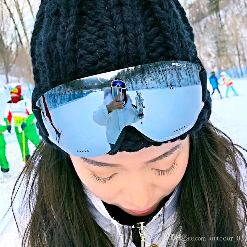 الرجال النساء HD تزلج نظارات UV400 مكافحة الضباب تزلج نظارات الشتاء صامد للريح على الجليد نظارات التزلج على الجليد نظارات نظارات