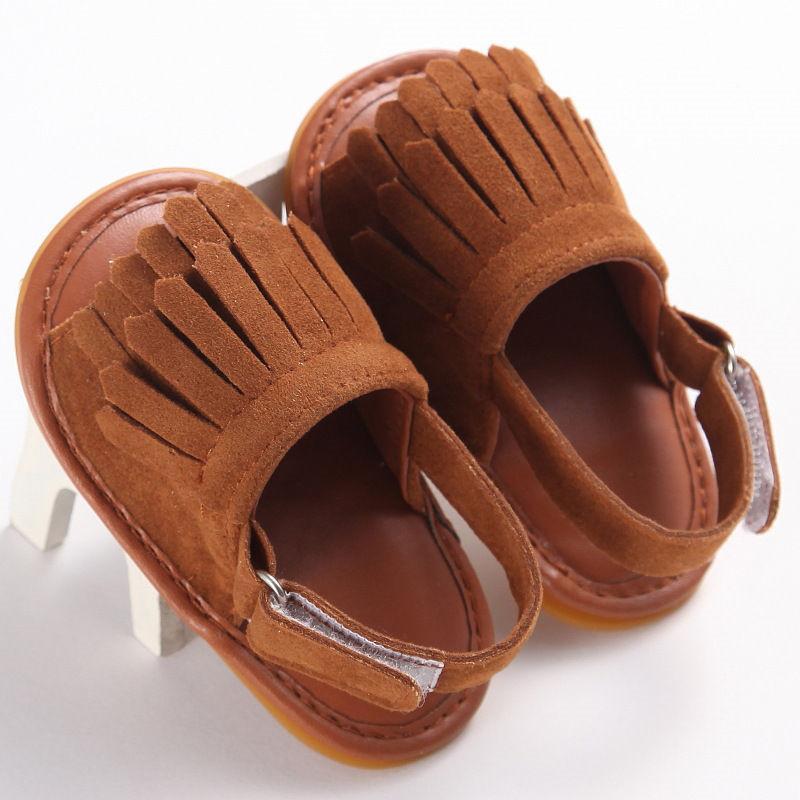 الرضع PU المطاط لينة وحيد الطفل الصنادل فتاة بوي للجنسين الأطفال الشرابة الصيف أحذية المشي الطفل الأخفاف