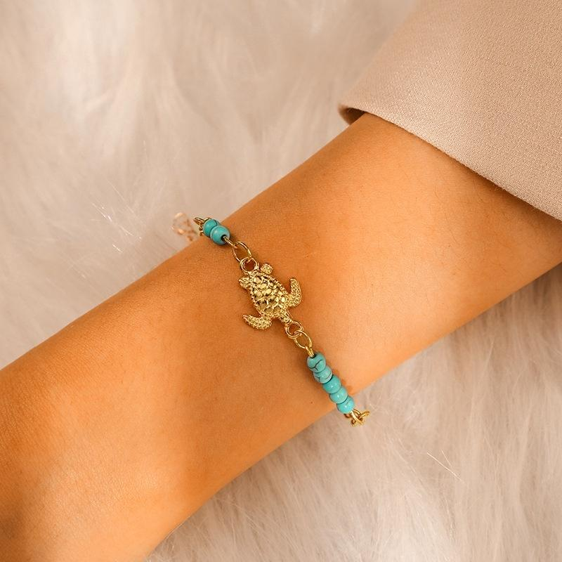 Bohemian blu di stile della lega dei branelli della tartaruga a sospensione regolabile impermeabile Ragazze braccialetto del CALZINO -CJS05