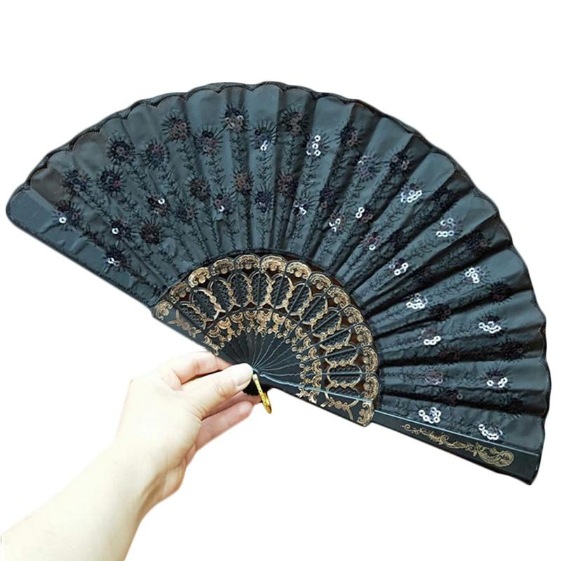 Chinese Style Colorful Peacock Pattern Sequin Fabric Summer Folding Embroidered Hand Fan Decorative
