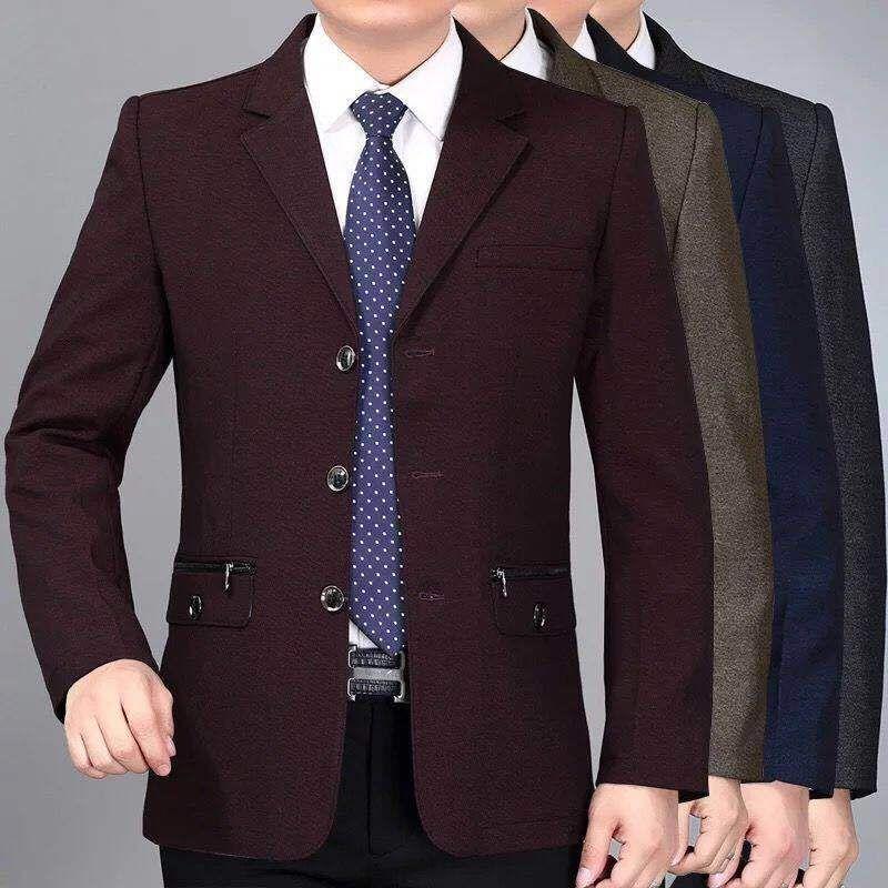 2020 Yeni Bahar Orta yaşlı Erkekler Rasgele Ceket İş Suit Ceketler Tek Breasted Slim Fit Blazer Biçimsel Çinli Giyim P4