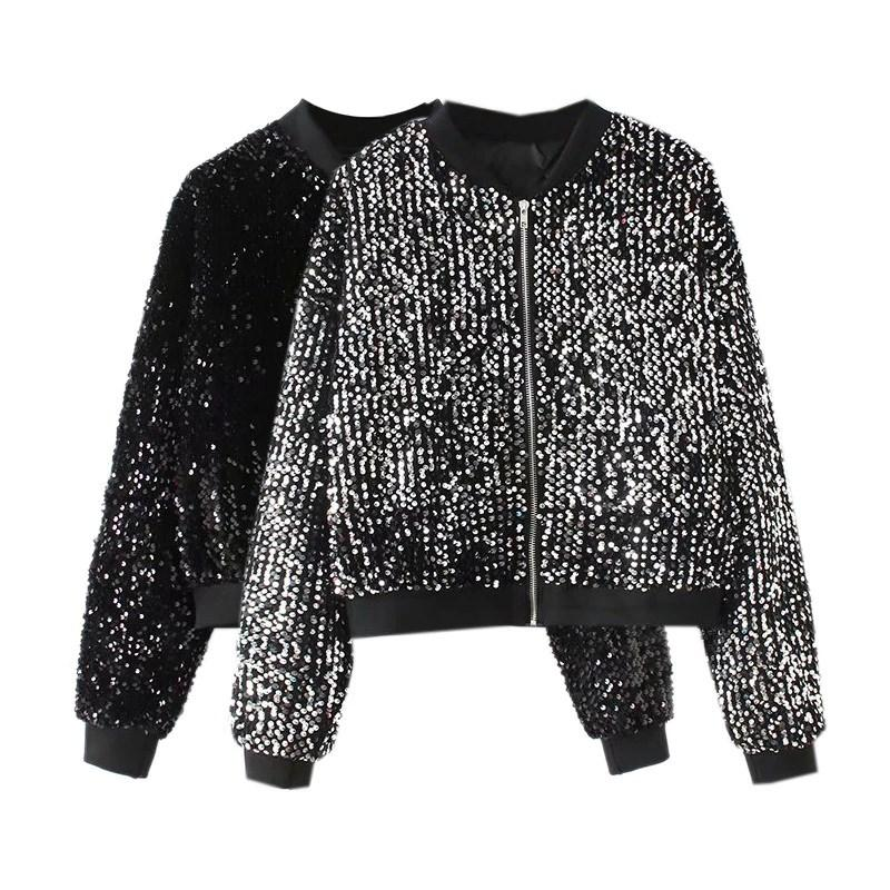 Autumn Women Chic Sequined Jacket Coats Pockets Long Sleeve Zipper Outerwear Vintage Female Casual Fashion Tops Coats