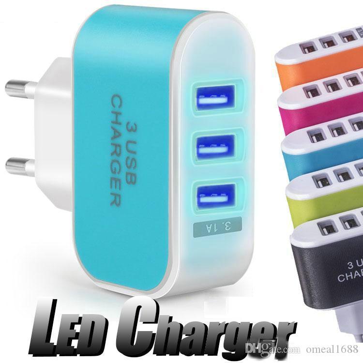 الولايات المتحدة الاتحاد الأوروبي التوصيل 3 USB شواحن جدار 5V 3.1a LED محول السفر محول الطاقة مريحة مع منافذ USB ثلاثية للهواتف الذكية الهاتف الخليوي