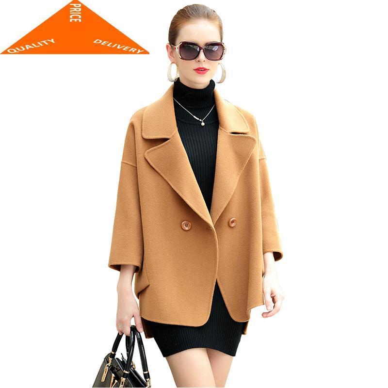 Femmes Automne Hiver Trois Laine Quarter Vestes 2020 de haute qualité Double Manteau en laine Veste courte havane clair YYJ264