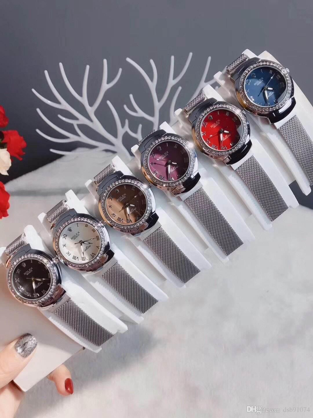 Fashion Roman Numeral Crystal Business Women's Watch High Quality Stainless Steel Strap Waterproof Multicolor Dial Quartz Watch