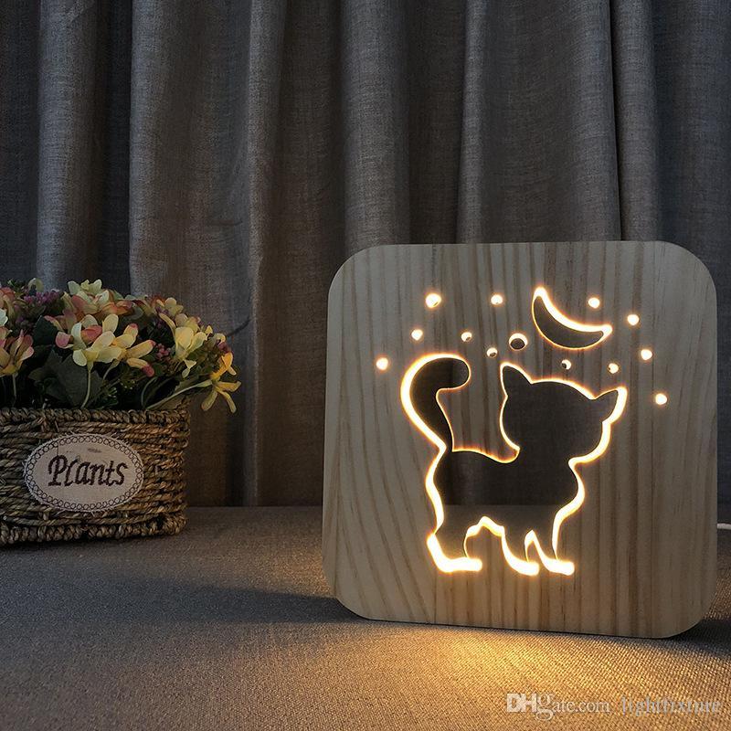 Adorável Forma Gato Lâmpada De Madeira Criativo Oco-out de Madeira Lâmpada de Mesa Luz Da Noite USB para As Crianças Presente de Natal