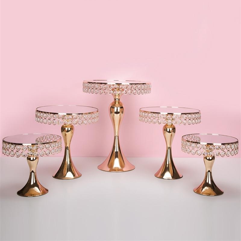 5 unids / set Gold Crystal Torta Soporte Soporte Pan Pan Cupcake Sweet Table Candy Bar Table Spieces Decoraciones de la boda