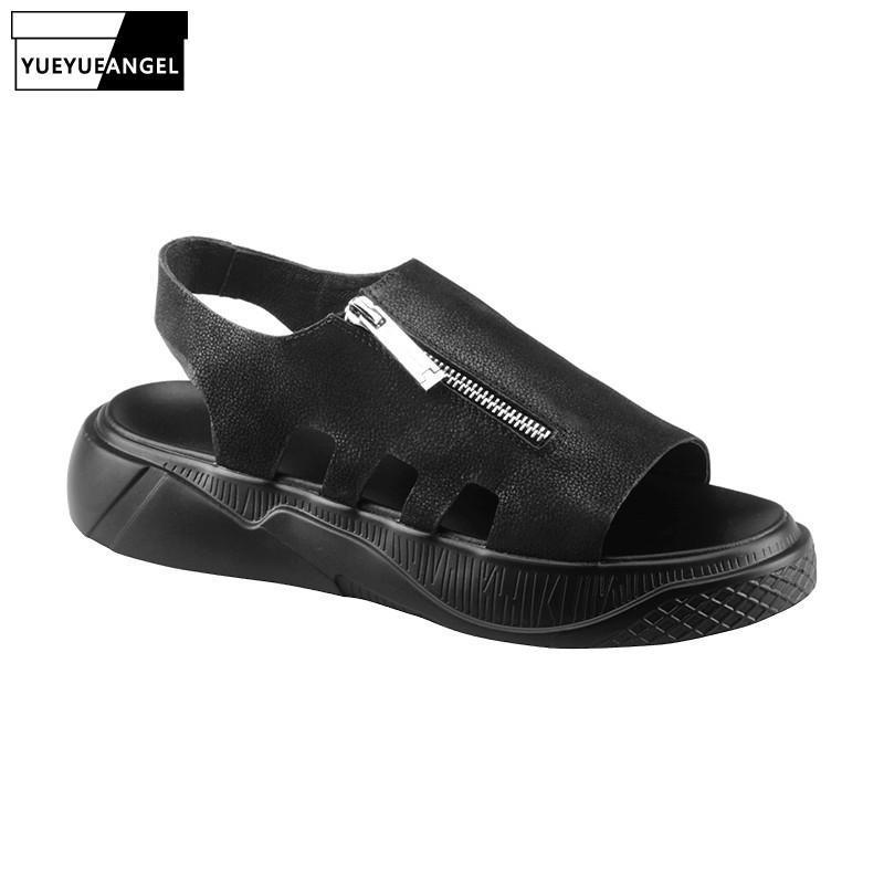 Été Gladiator sandales Chaussures plates Hommes Mode luxe 100% cuir véritable Chaussures Casual Punk Plateforme Sandalias Hombre Plage Chaussons