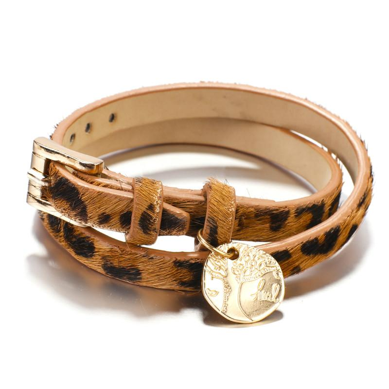 Leopard Leather Bracelets For Women 2019 Fashion Bracelets And Bangles Tree of Life Multilayer Wrap Bracelet Jewelry Gifts