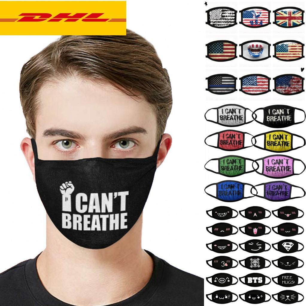 DHL3-5 Days Designer Mask Anti Dust Face Mask I Can't Breath Lives Black Matter Trump Cotton for Cycling Flag Washable Reusable Cloth Masks
