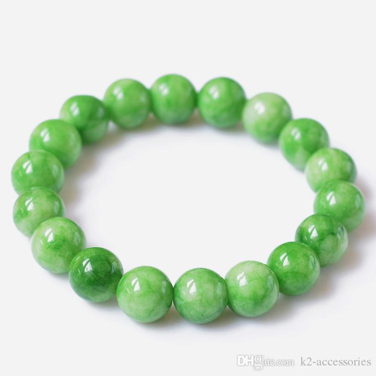 GREEN Jade 6mm 8mm 10mm 12mm Charm Bracelet Semi Precious Stone Round Beads Bracelet For Women men Jewelry Love Gift
