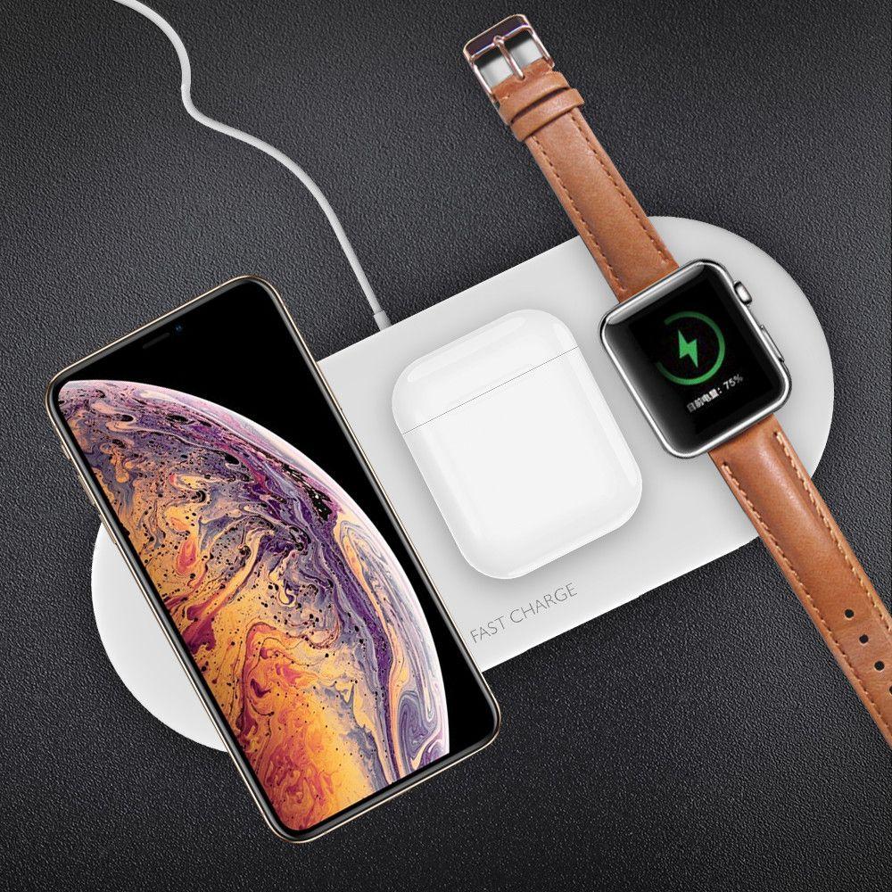 Min.1pcs QI Универсальное зарядное устройство беспроводной Pad 3-В-1 10w Быстрая зарядка для сотового телефона Apple, серии смотреть Беспроводные наушники Bluetooth