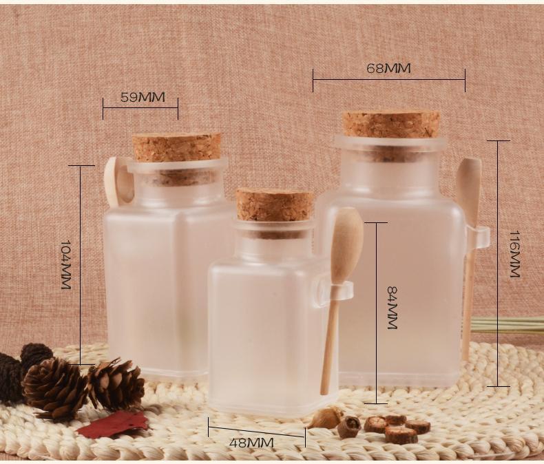 20 pc / lotto quadrati Forma contenitori cosmetici 100g 200g 300g ABS Scrub Sale da bagno Vasi Maschera per il viso con tappo di sughero cucchiaio di legno