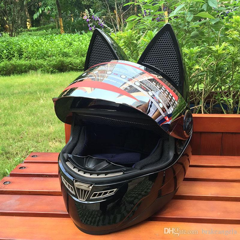 2017 orecchie di gatto bello del casco del motociclo Casco nero corsa antiappannamento disegno di personalità casco integrale capacete casco