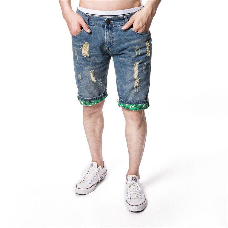 Лето рваные джинсы Мода Стиль Homme одежды Casual Mens лето конструктора длины колена Pant Мужские джинсы