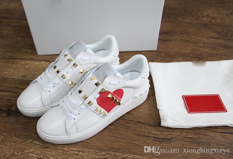 2019 hommes nouveaux ace de luxe et des femmes rivet chaussures casual en cuir noir blanc noir amour baskets surdimensionné 35-48