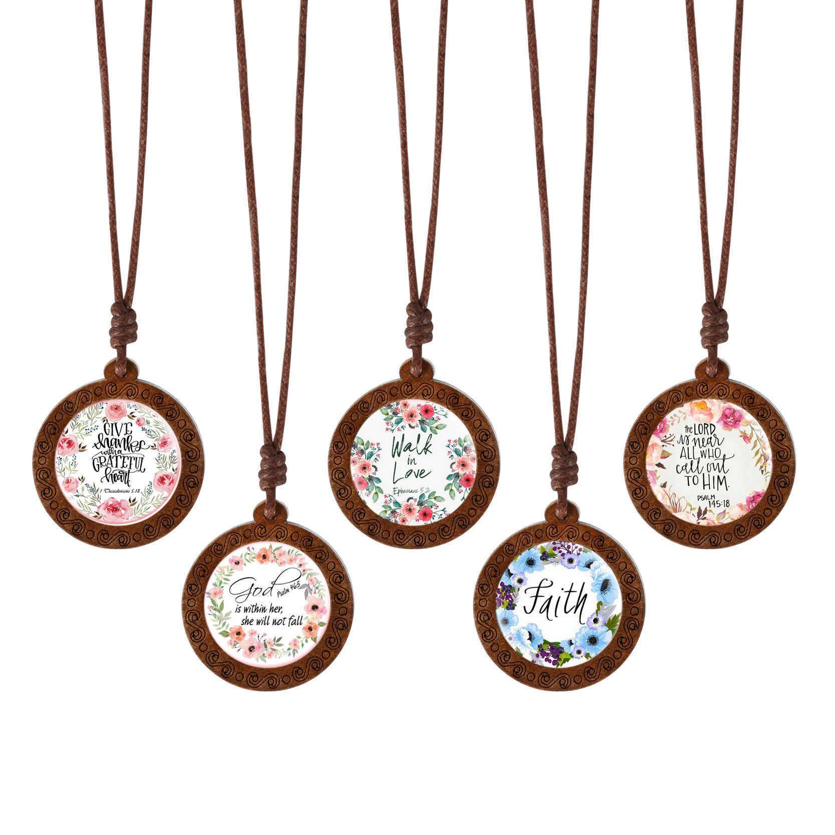 Großhandel handgemachte Holzglas Cabochon Bibel Verse Schrift Zitat Halskette personalisierte Schmuck Christian für Frauen