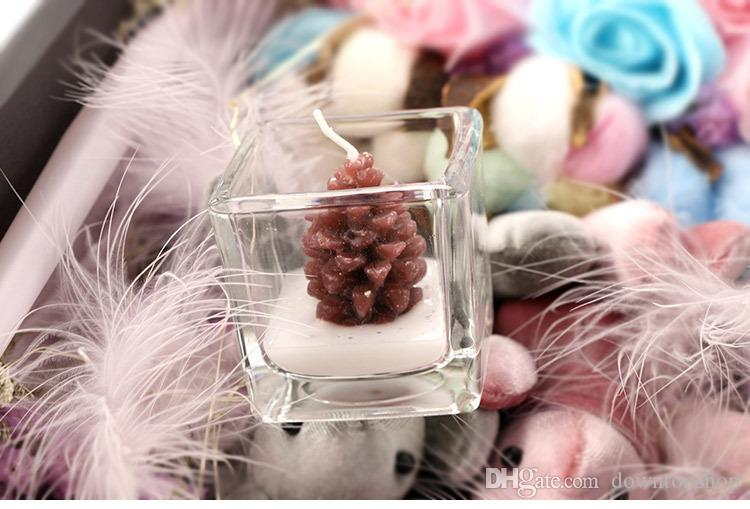 """Wedding Scented Candle Favors """"Happy Pinecones"""" Tea Light Candle Holder Party favor gift wedding supplies Reception Giveaway Table Decors"""
