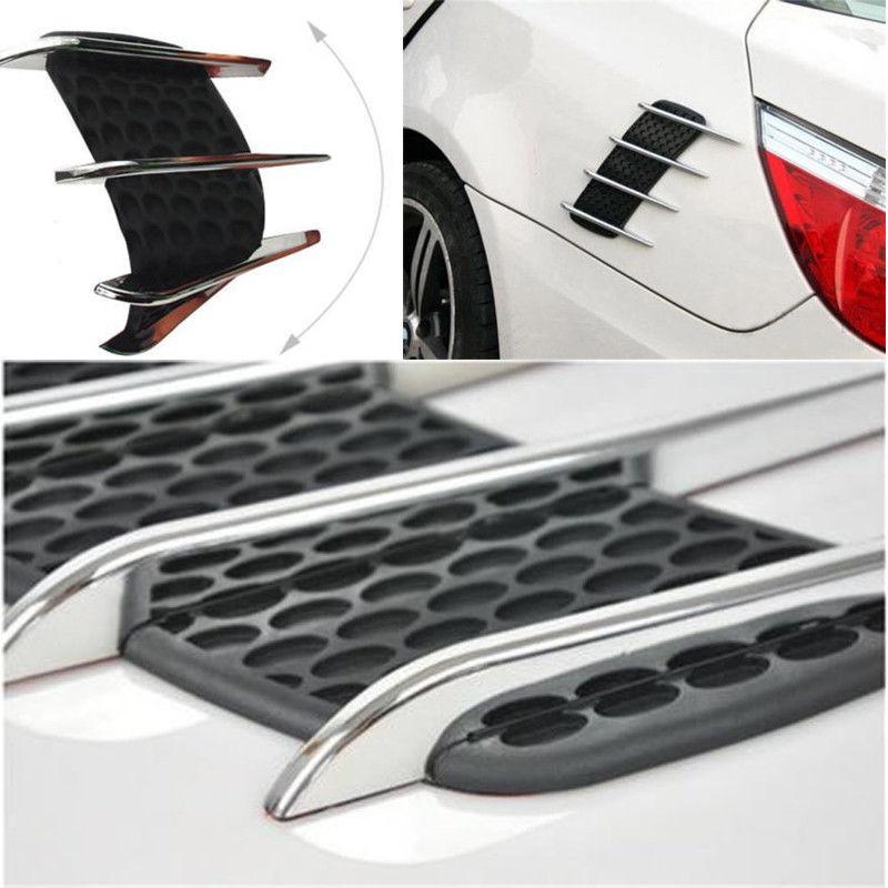 rejilla de ventilaci/ón 2 uds Rejilla de entrada de flujo de aire lateral del coche pegatina decorativa Universal Flujo de aire lateral cubierta de orificio de red Chapado en plata