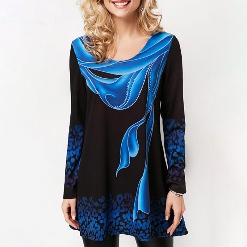 Maglie a manica lunga T camicia più di formato 2019 estate Blue Stampa parti superiori del cotone femminile maglietta 100% casuale allentato Tee Shirt