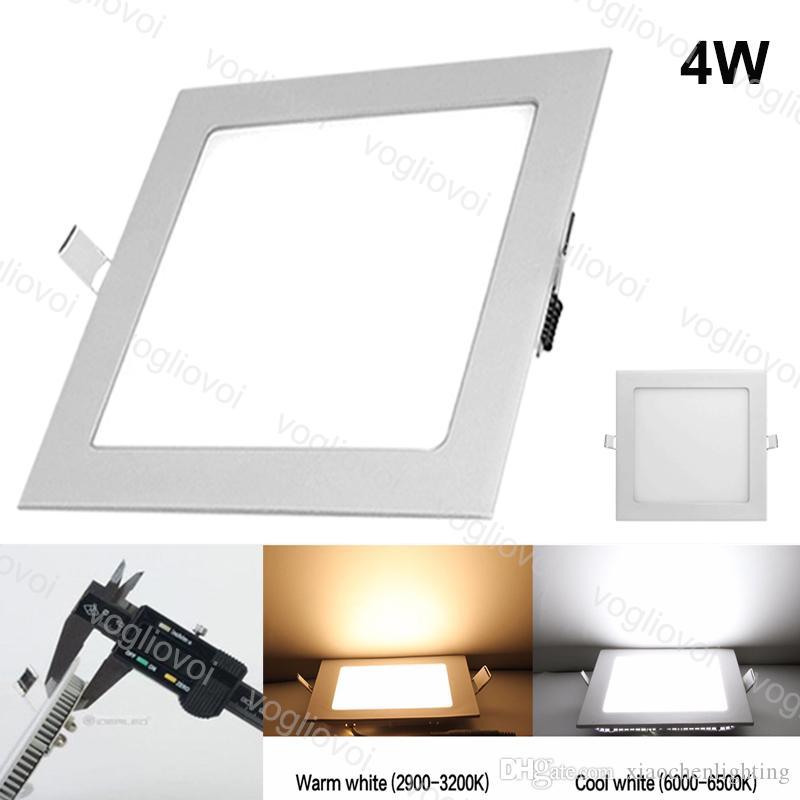 Downlights 4w corte 95x95mm quadrado recesso ultra fina alumínio acrílico lado emitindo fresco branco smd2835 para escritório sala de estar DHL
