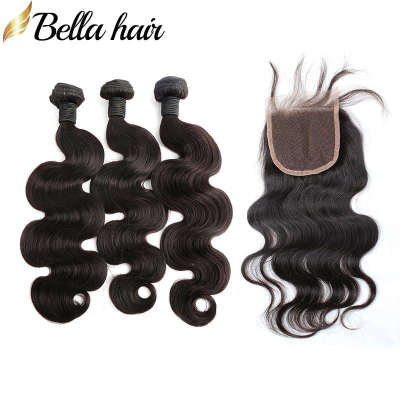 Pacco peruviano a testa piena Capelli vergini perviani con chiusura corpo corpo 3pcs trama dei capelli e 1 pz chiusura superiore 4x4 colore naturale estensioni dei capelli Bellahair