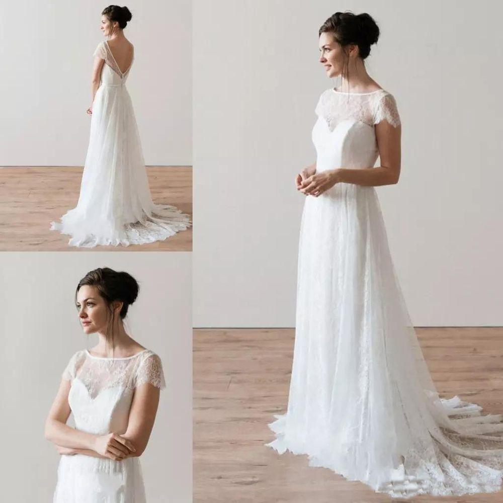 2020 Новый дизайнер Свадебные платья Шнурок A-Line с коротким рукавом Аппликация Тюль Jewel Backless Wedding Drersses сшитое Vestidos De Novia