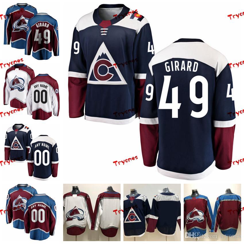 2019 Colorado Avalanche Samuel Girard Mens cucita maglie Personalizza alternativa Blue Home Camicie 49 Samuel Girard Hockey Maglie S-XXXL